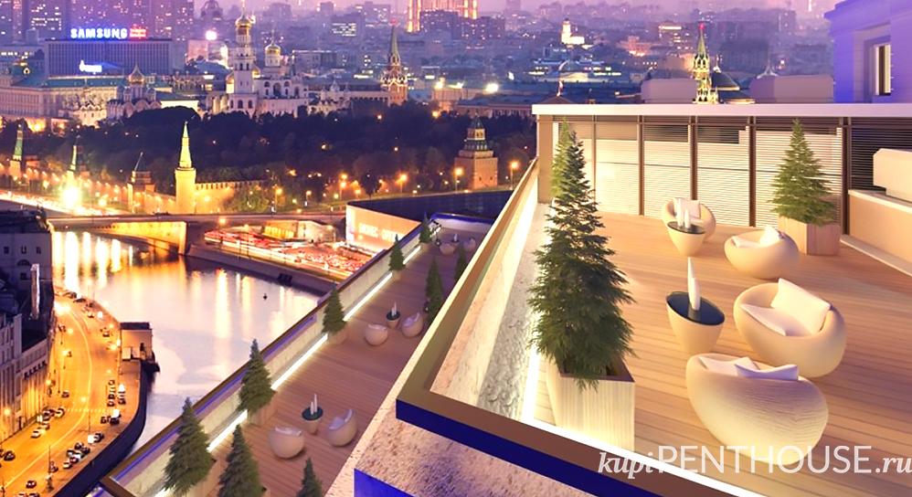 Vid na Kreml iz penthausa v klubnom dome na Kotelniheskoy, 31