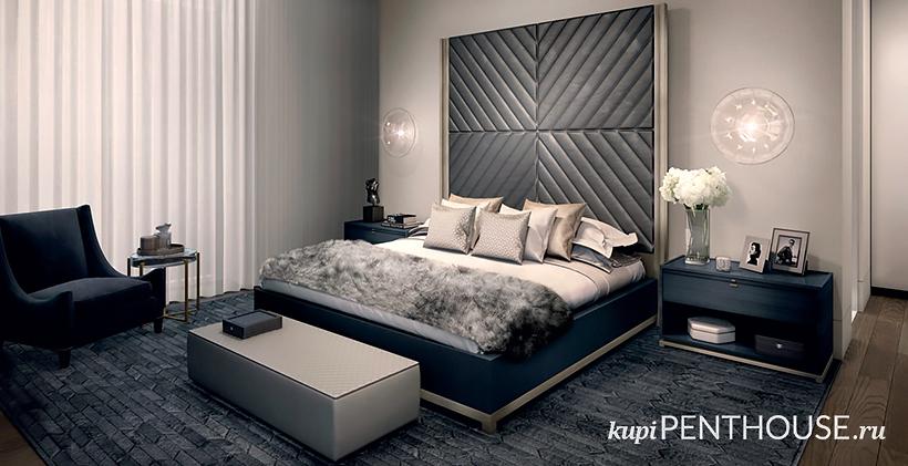 Interier spalni v apartamentah Nabokova